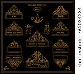 premium collection of golden... | Shutterstock .eps vector #765034234