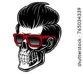barber skull with glasses and... | Shutterstock .eps vector #765034339