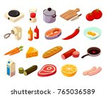 food cooking set of isometric... | Shutterstock .eps vector #765036589