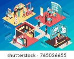 isometric expo stand exhibition ... | Shutterstock .eps vector #765036655