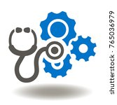 stethoscope cogwheel mechanism... | Shutterstock .eps vector #765036979