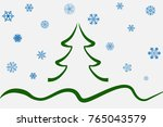 christmas tree green background ... | Shutterstock .eps vector #765043579