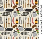 cartoon barbeque party tool... | Shutterstock .eps vector #76504369