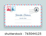 santa claus christmas mailing... | Shutterstock .eps vector #765044125