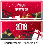 set of realistic new year... | Shutterstock .eps vector #765045121