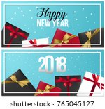 set of realistic new year... | Shutterstock .eps vector #765045127