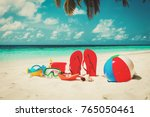 colored slippers  toys and... | Shutterstock . vector #765050461