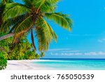 tropical sand beach with palm... | Shutterstock . vector #765050539