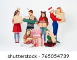 surprised group of children... | Shutterstock . vector #765054739