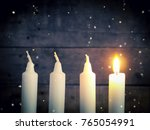 advent candles on a rustic... | Shutterstock . vector #765054991
