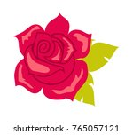 Stock vector red rose with green leaves illustration of isolated big blossom in cartoon style fashion 765057121