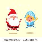snow maiden and santa claus... | Shutterstock .eps vector #765058171