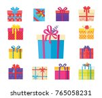boxing packs set  presents... | Shutterstock .eps vector #765058231