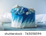 beautiful blue wedding cake... | Shutterstock . vector #765058594