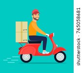 man with beard riding retro... | Shutterstock .eps vector #765058681