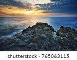 beautiful seascape sunset.... | Shutterstock . vector #765063115