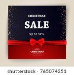 christmas sale on red... | Shutterstock .eps vector #765074251