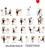 set of wedding pictures  bride... | Shutterstock .eps vector #76507444