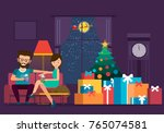 cartoon living room with a...   Shutterstock .eps vector #765074581