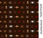 seamless pattern with skulls... | Shutterstock .eps vector #765079249