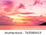 night is coming burning skies  | Shutterstock . vector #765080419