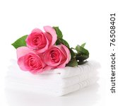 white towel with pink roses on... | Shutterstock . vector #76508401