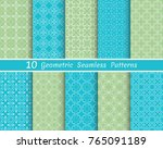 set of seamless line patterns.... | Shutterstock .eps vector #765091189