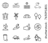thin line icon set   globe  bio ... | Shutterstock .eps vector #765091801