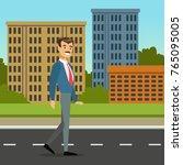 happy mustached man walking... | Shutterstock .eps vector #765095005