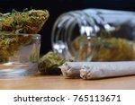 marijuana buds  jar  money and... | Shutterstock . vector #765113671