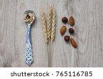 muesli with nuts hazelnuts ... | Shutterstock . vector #765116785
