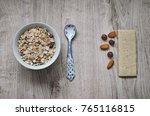 muesli with nuts hazelnuts ... | Shutterstock . vector #765116815