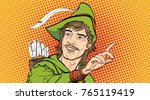 robin hood in a hat with... | Shutterstock .eps vector #765119419