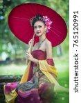 thai woman dressing traditional ... | Shutterstock . vector #765120991