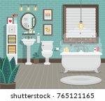 clean bathroom with toilet sink ...   Shutterstock .eps vector #765121165