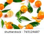 ripe orange tangerine  mandarin ... | Shutterstock . vector #765124687