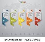 5 steps timeline origami... | Shutterstock .eps vector #765124981