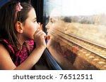 little girl looking through... | Shutterstock . vector #76512511
