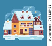 snowy scene with country winter ... | Shutterstock .eps vector #765125431