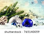 christmas holiday setting with... | Shutterstock . vector #765140059