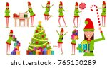 a cheerful girl in a gnome... | Shutterstock .eps vector #765150289