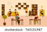 smiling people reading and... | Shutterstock .eps vector #765151987