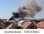 house fire smoke  | Shutterstock . vector #765153061