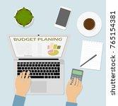 hand on computer keyboard ... | Shutterstock .eps vector #765154381