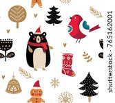 christmas vector seamless... | Shutterstock .eps vector #765162001