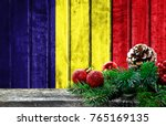 wooden christmas background... | Shutterstock . vector #765169135