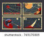 vintage space postage stamps.... | Shutterstock .eps vector #765170305