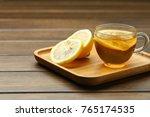 Lemon Black Tea In Glass Cup O...
