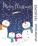 xmas greeting card with snowman ... | Shutterstock .eps vector #765182905