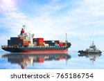 container ship was dragged by... | Shutterstock . vector #765186754